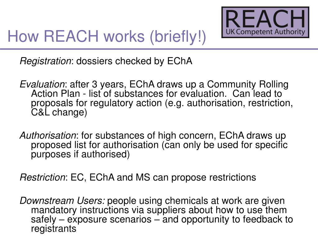 How REACH works (briefly!)