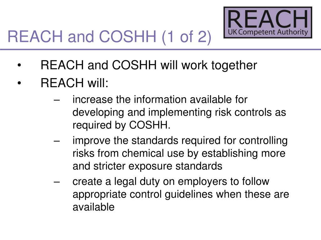 REACH and COSHH (1 of 2)