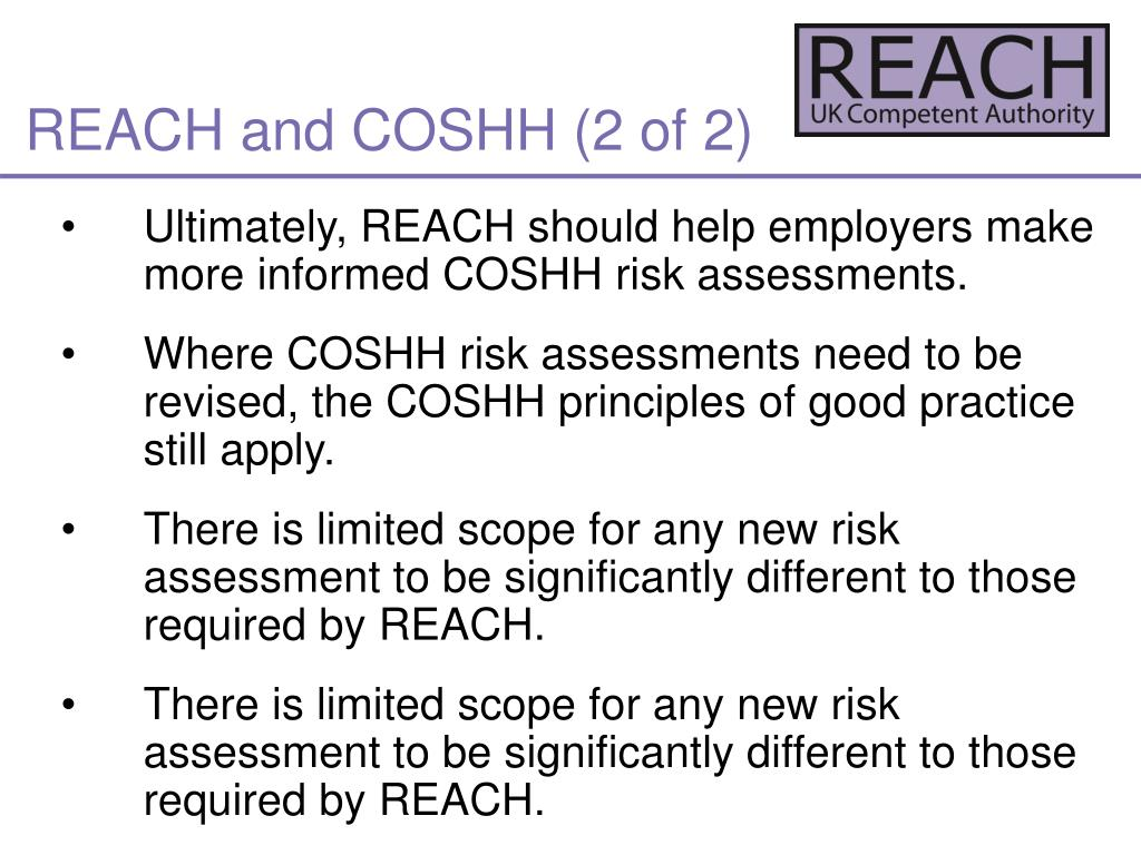REACH and COSHH (2 of 2)