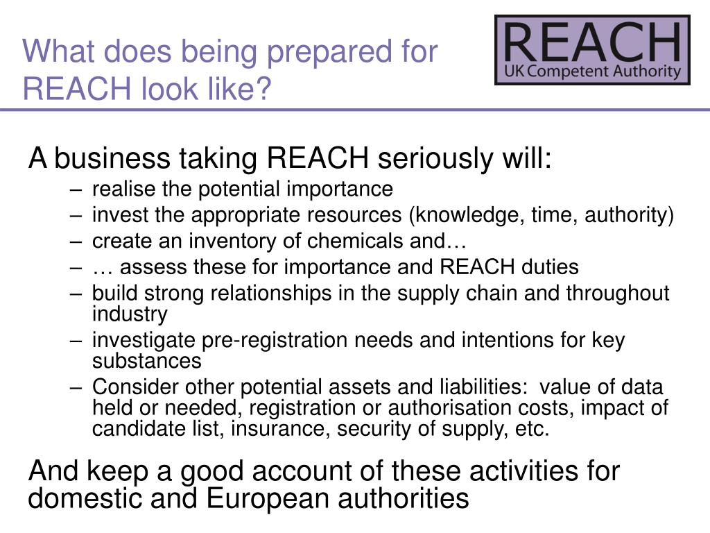 What does being prepared for REACH look like?