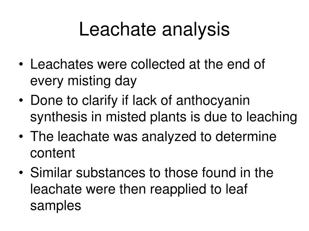 Leachate analysis