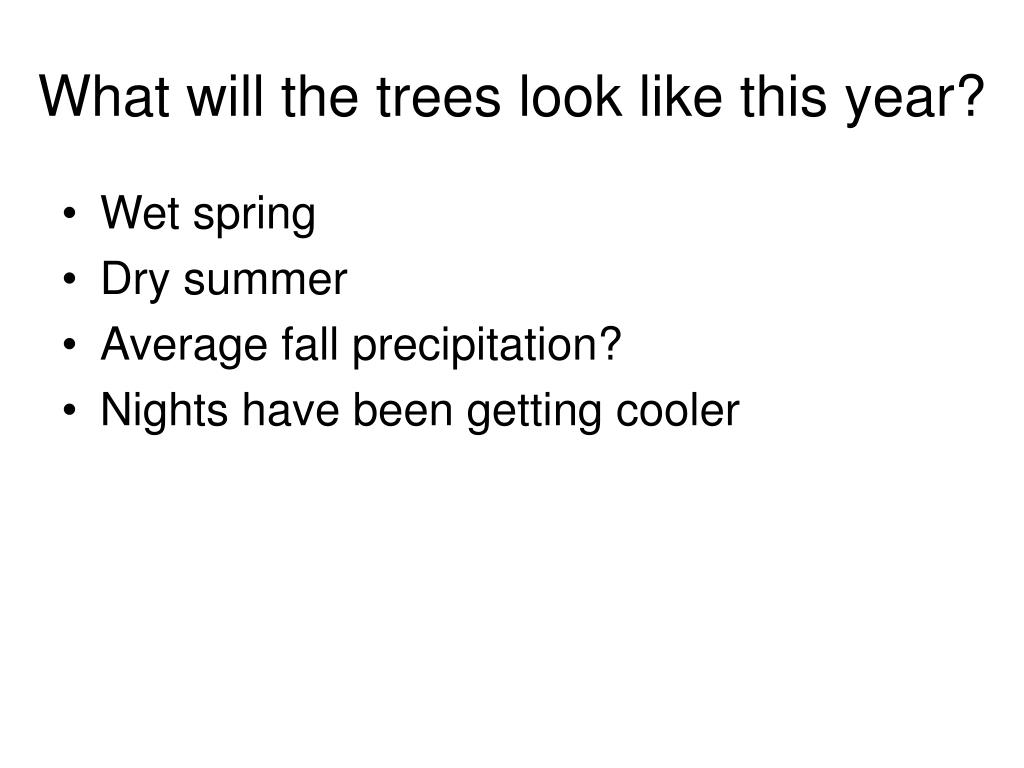 What will the trees look like this year?