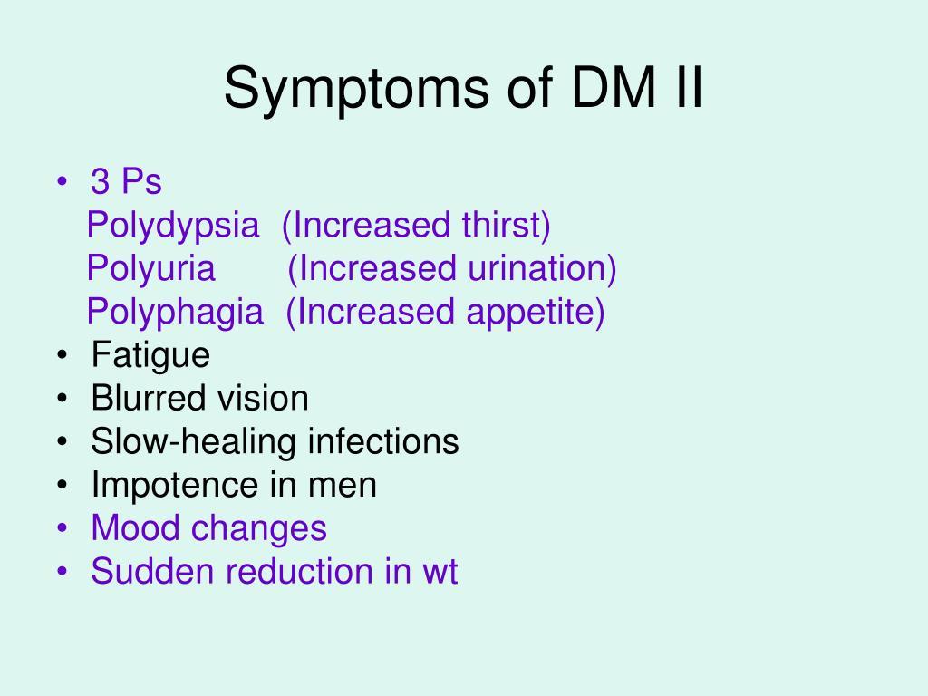 Symptoms of DM II