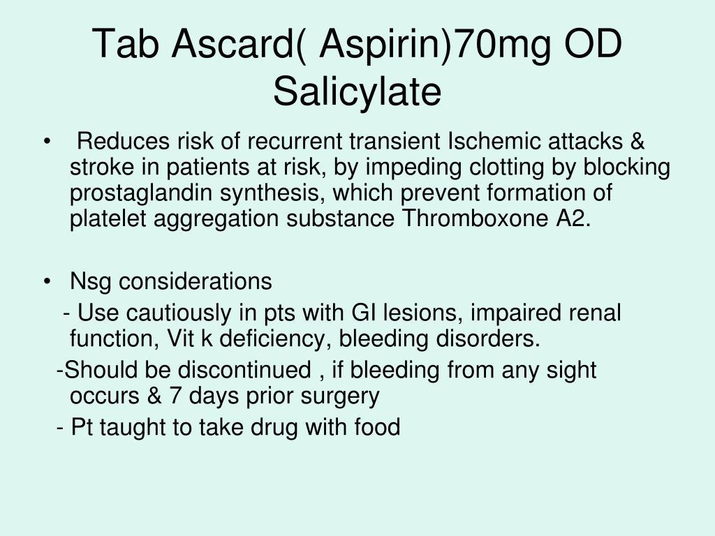 Tab Ascard( Aspirin)70mg OD