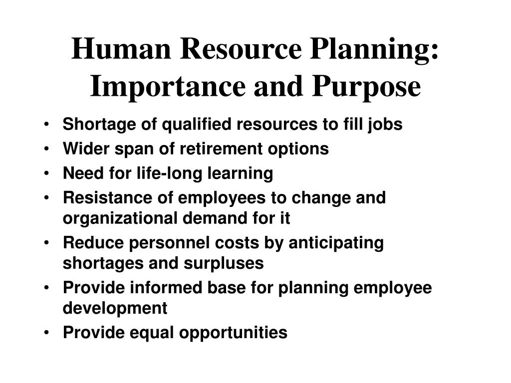 importance of human resource planning in organisation