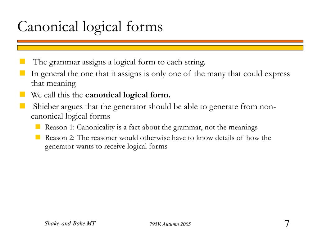 Canonical logical forms