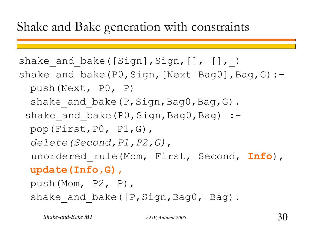 Shake and Bake generation with constraints