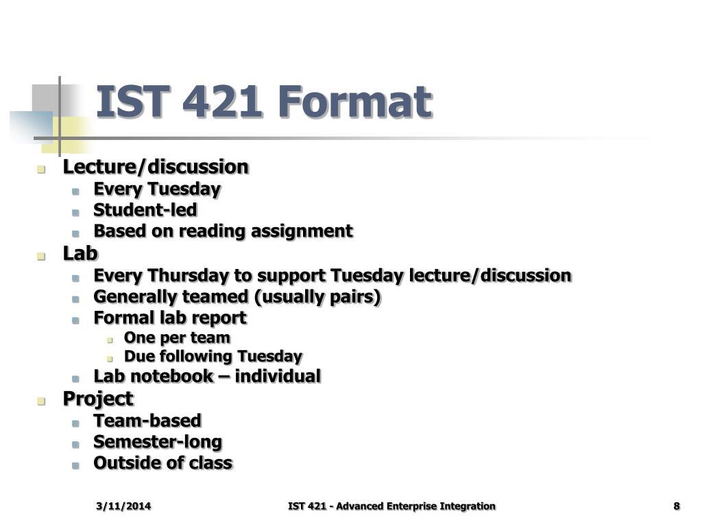 IST 421 Format