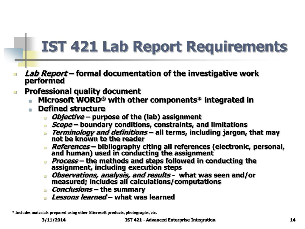 IST 421 Lab Report Requirements