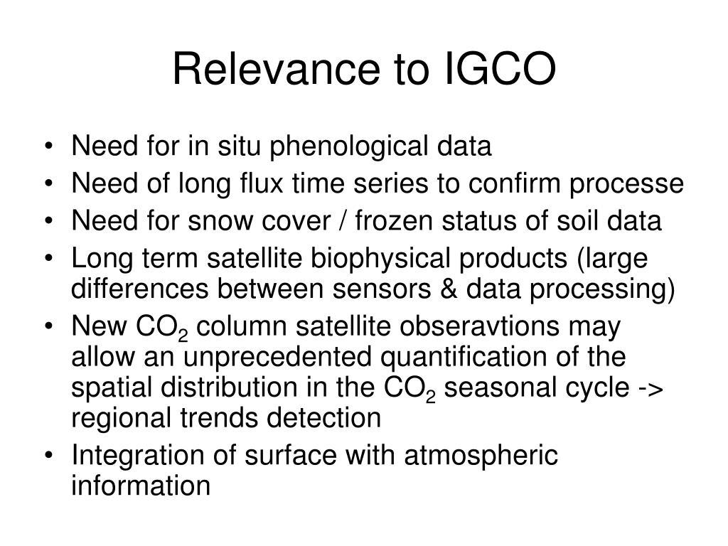 Relevance to IGCO