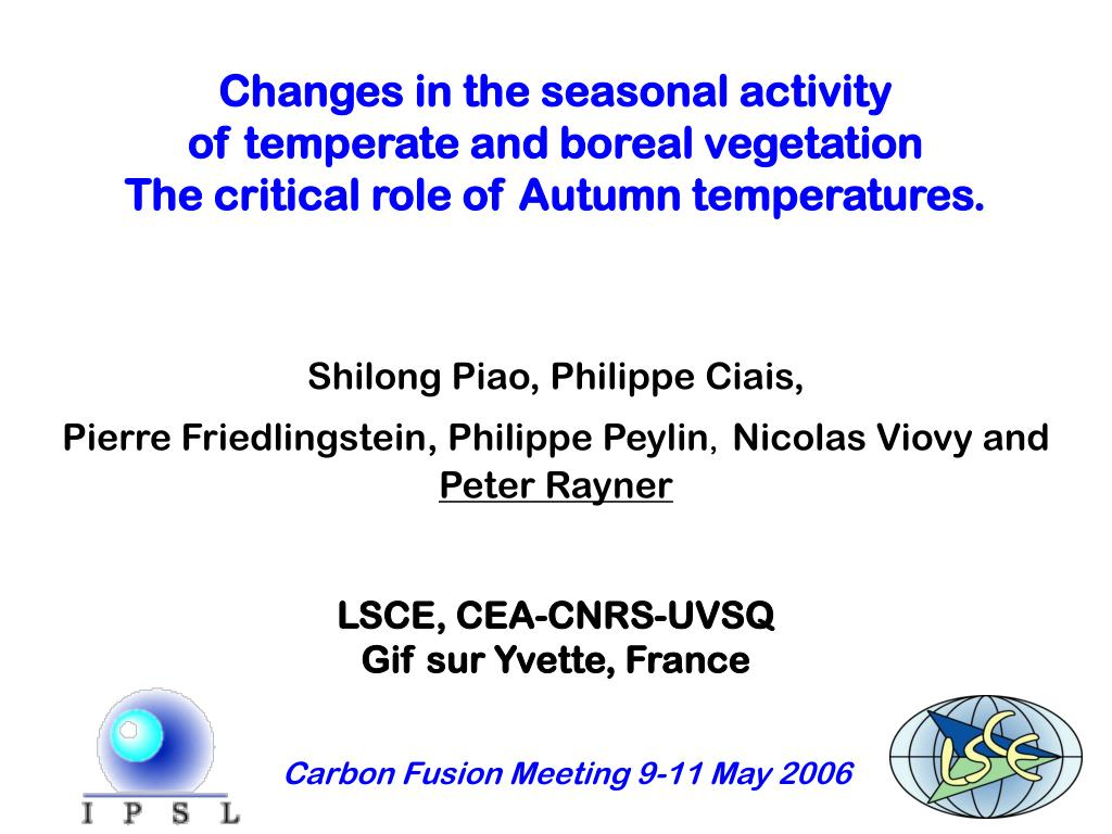 Changes in the seasonal activity