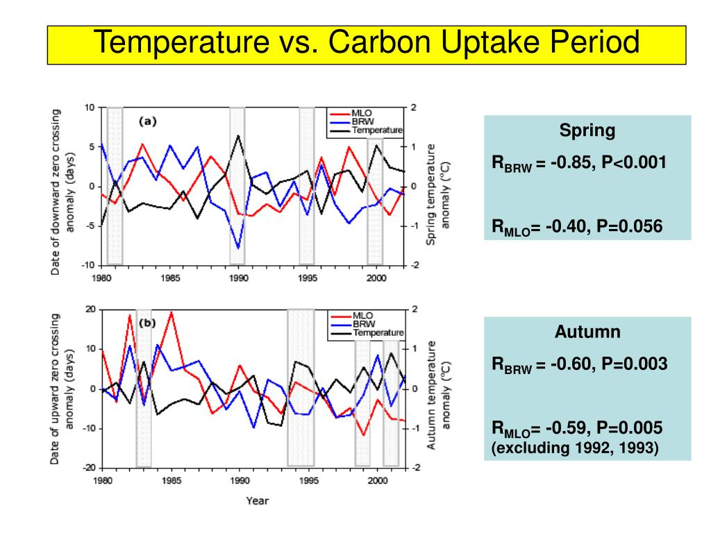 Temperature vs. Carbon Uptake Period