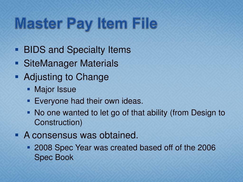 Master Pay Item File