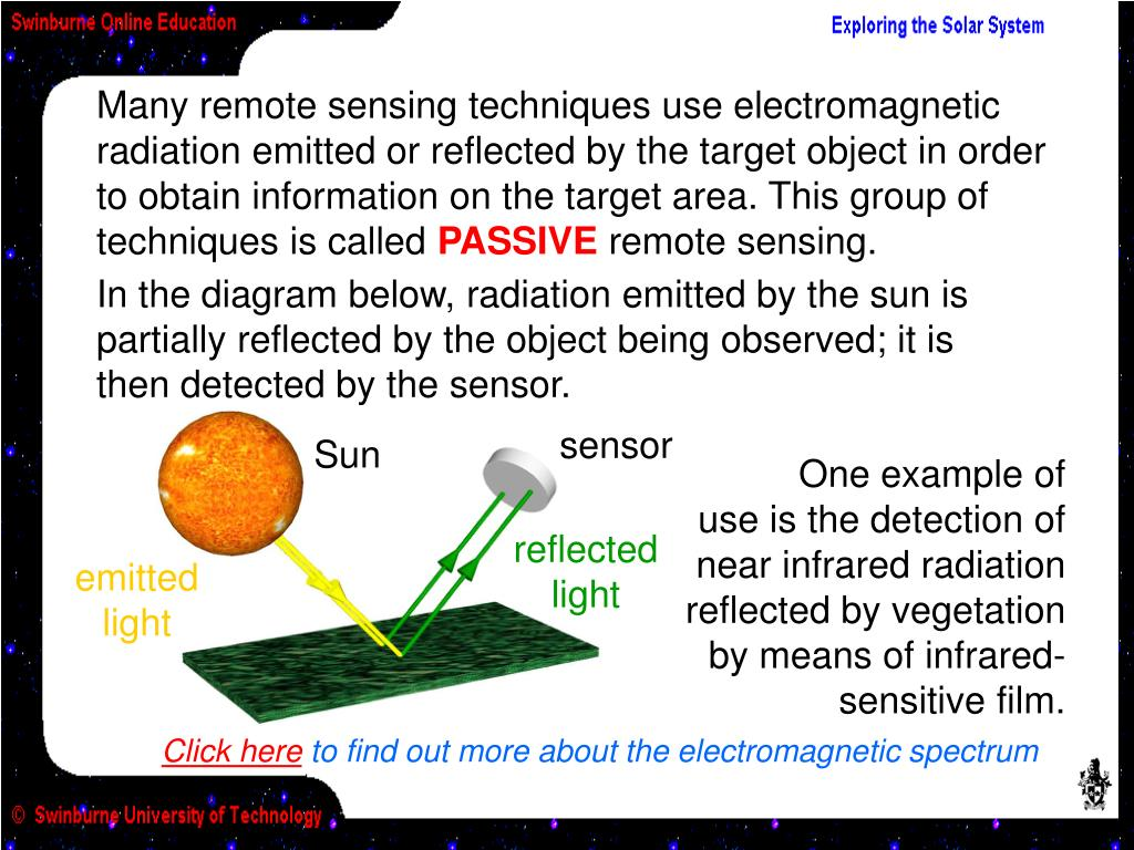 Many remote sensing techniques use electromagnetic radiation emitted or reflected by the target object in order to obtain information on the target area. This group of  techniques is called