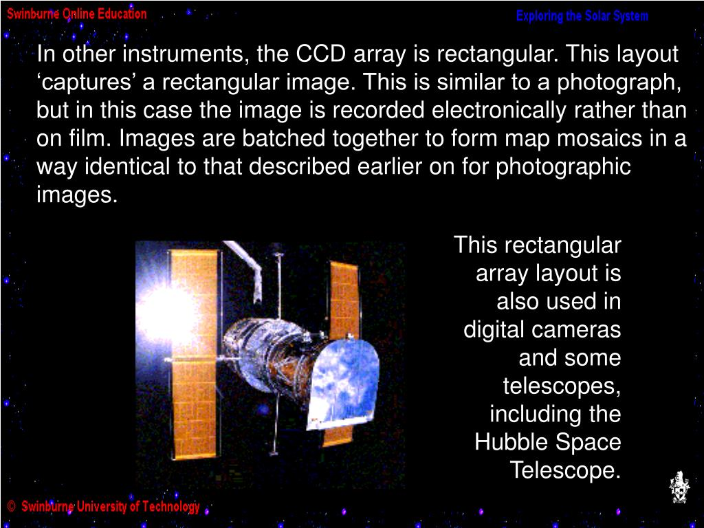 In other instruments, the CCD array is rectangular. This layout 'captures' a rectangular image. This is similar to a photograph, but in this case the image is recorded electronically rather than on film. Images are batched together to form map mosaics in a way identical to that described earlier on for photographic images.