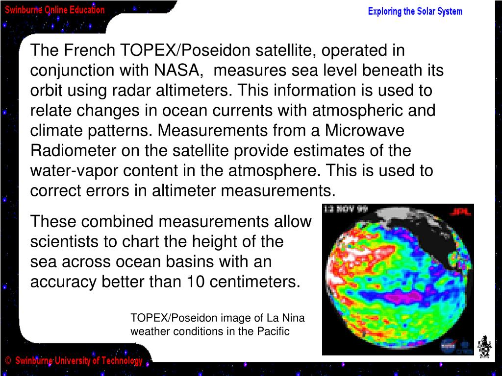 TOPEX/Poseidon image of La Nina weather conditions in the Pacific