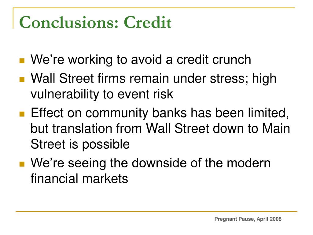 Conclusions: Credit