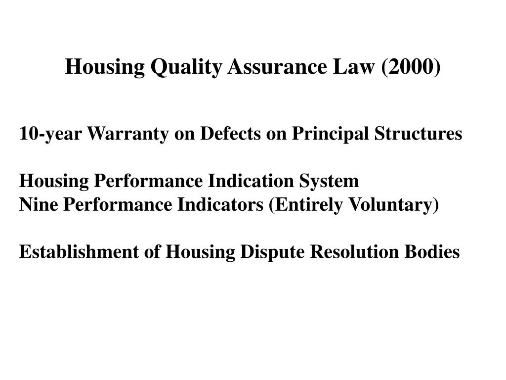 Housing Quality Assurance Law (2000)