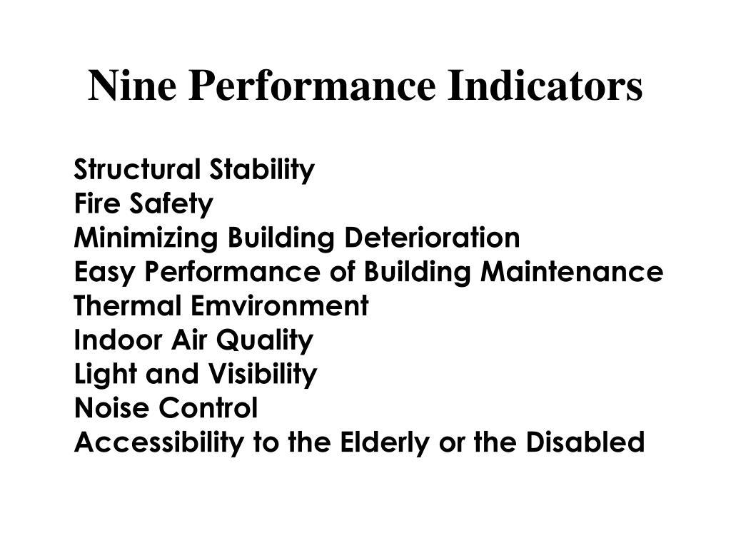 Nine Performance Indicators