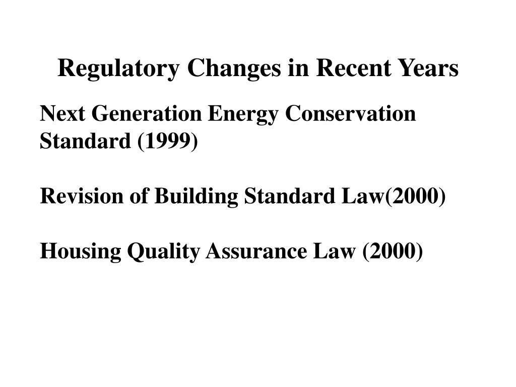 Regulatory Changes in Recent Years
