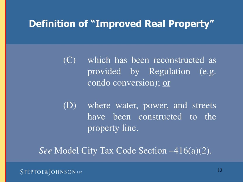 "Definition of ""Improved Real Property"""