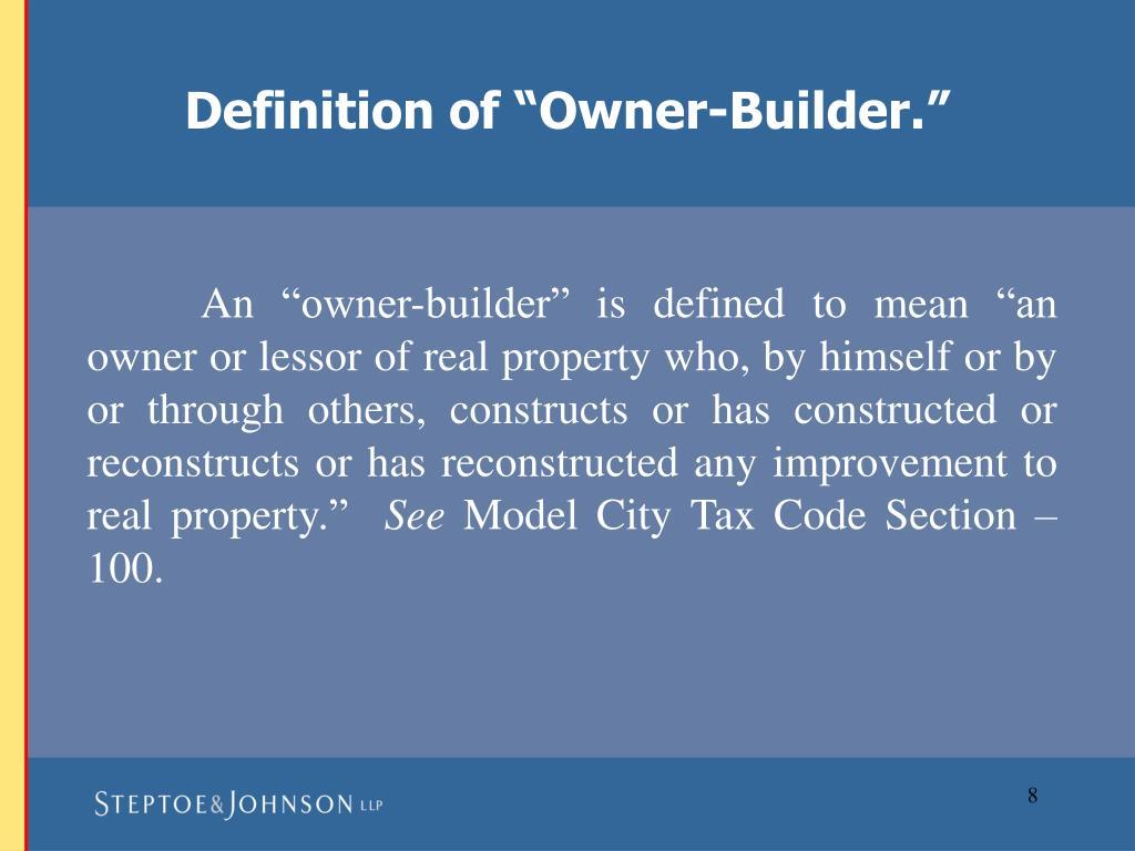 """Definition of """"Owner-Builder."""""""