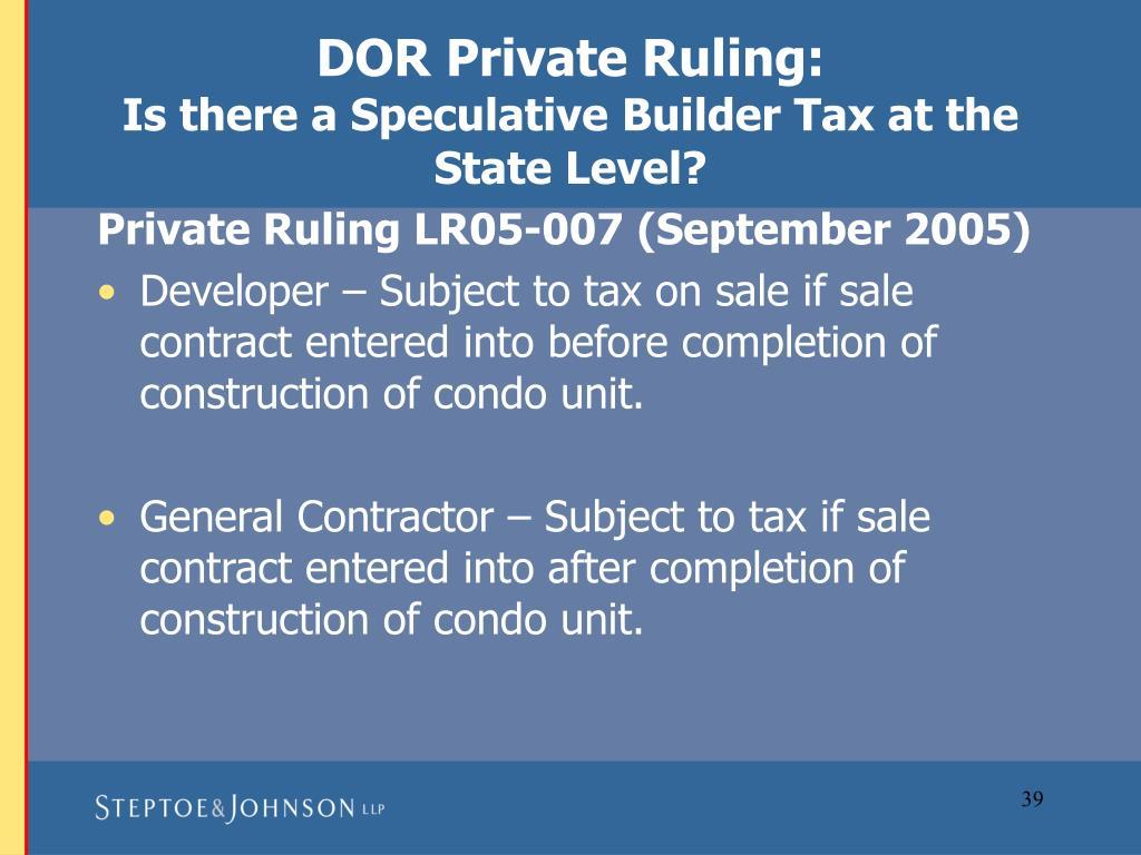 DOR Private Ruling: