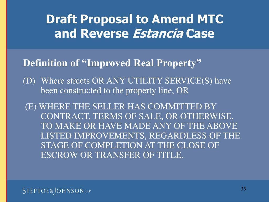 Draft Proposal to Amend MTC