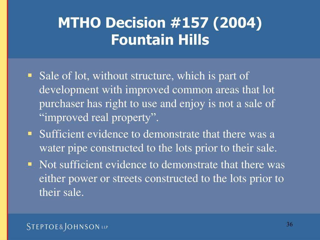MTHO Decision #157 (2004)