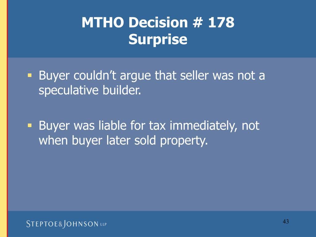 MTHO Decision # 178