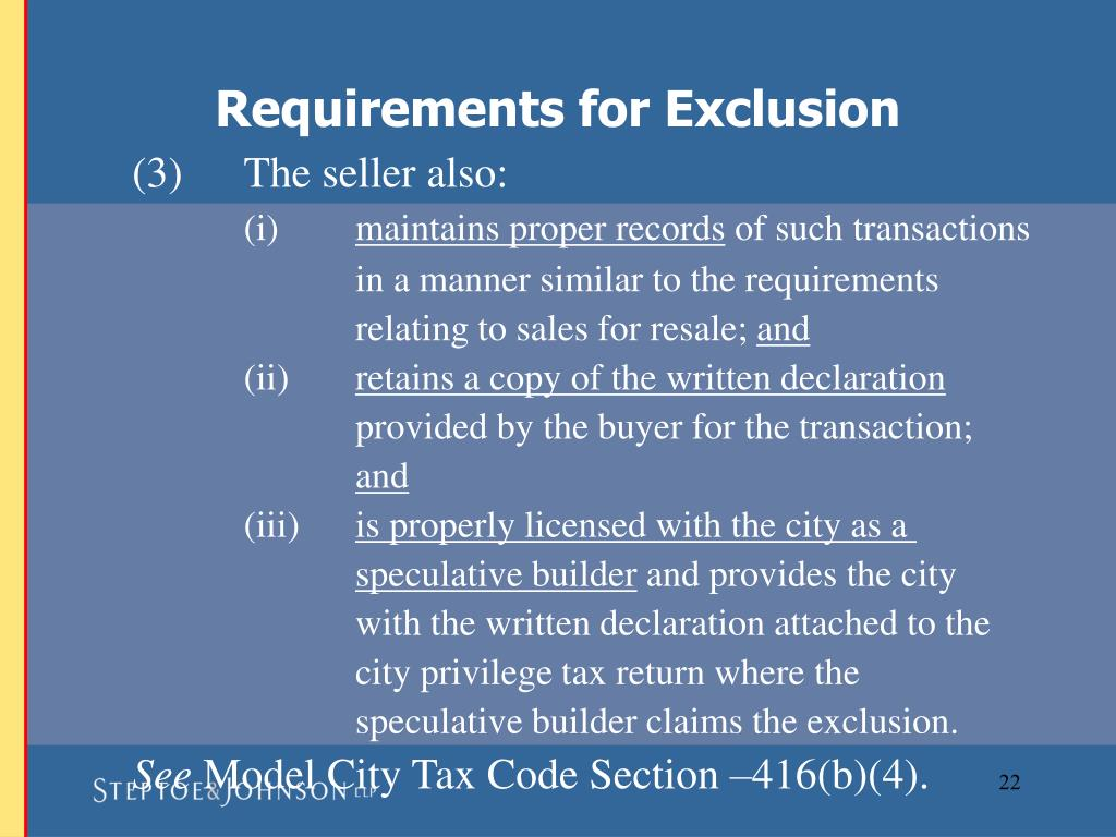 Requirements for Exclusion