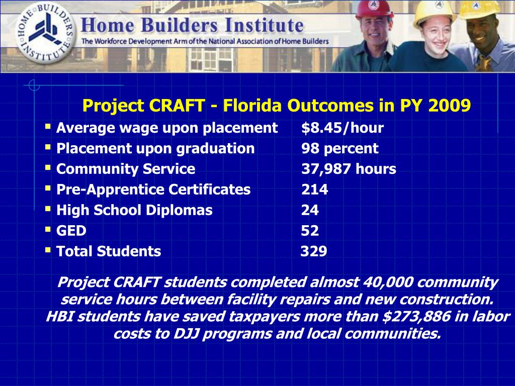 Project CRAFT - Florida Outcomes in PY 2009
