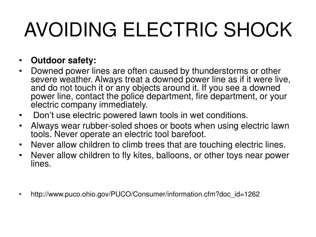 AVOIDING ELECTRIC SHOCK
