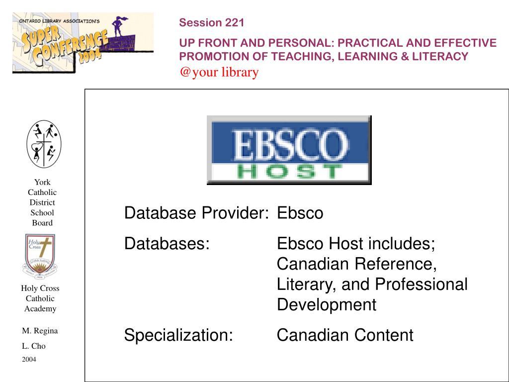 Database Provider:Ebsco