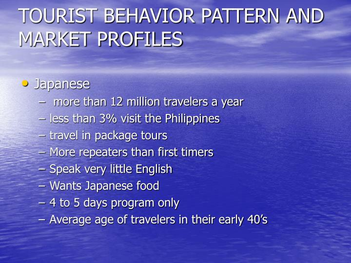 Tourist behavior pattern and market profiles