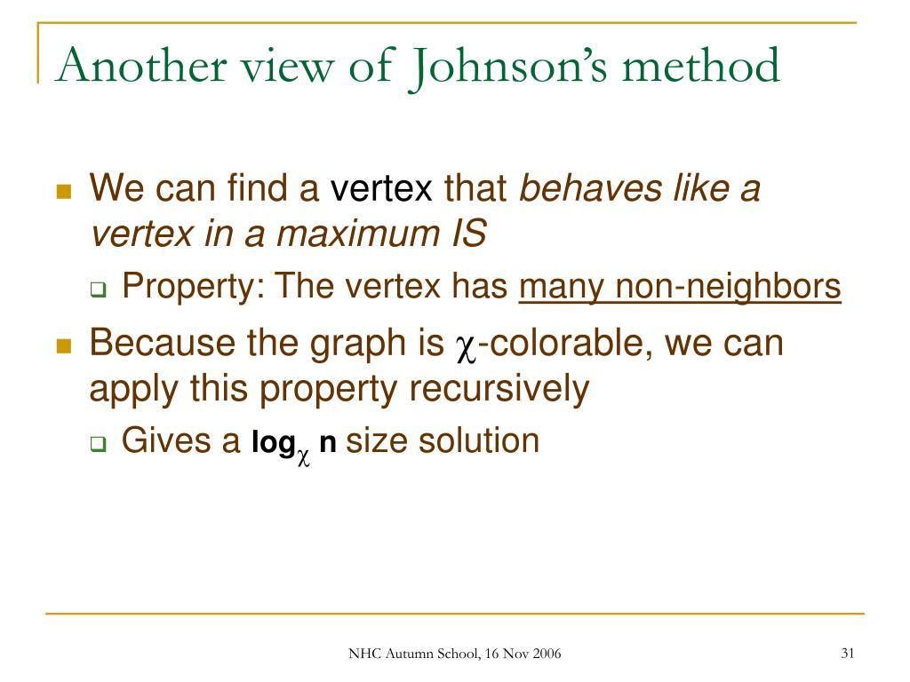 Another view of Johnson's method