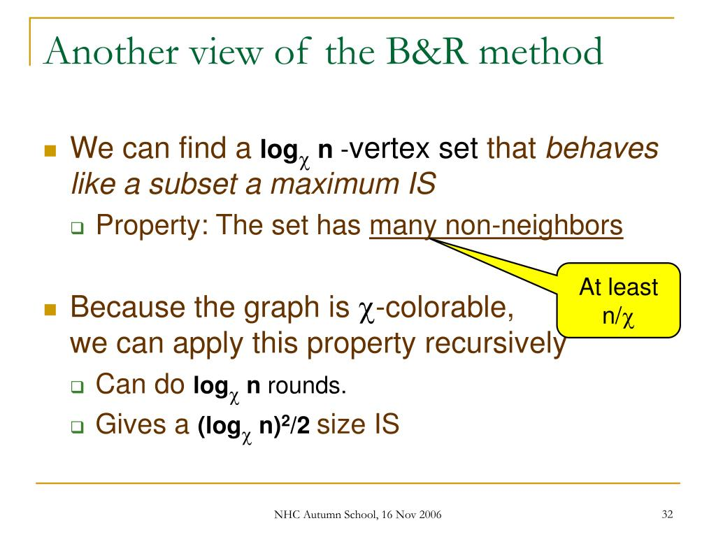 Another view of the B&R method
