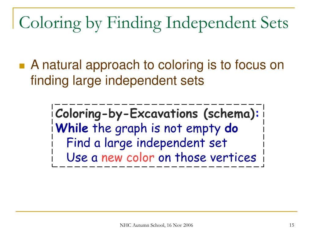 Coloring by Finding Independent Sets