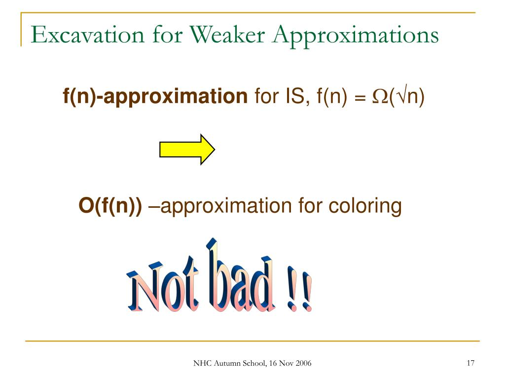 Excavation for Weaker Approximations