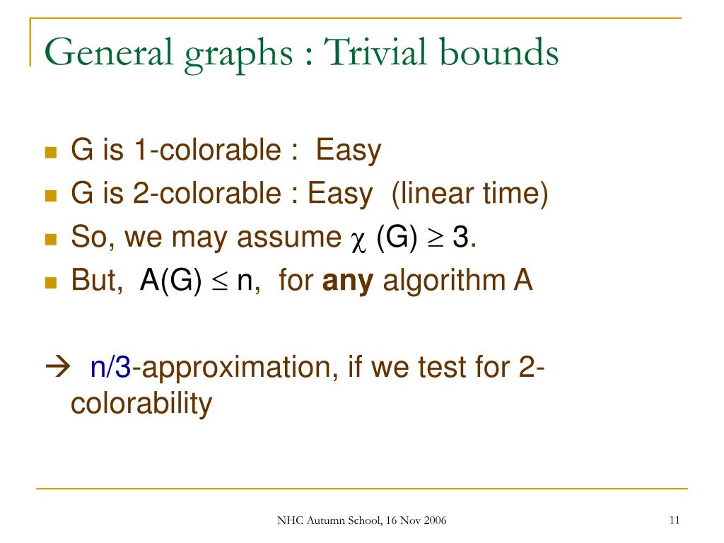 General graphs : Trivial bounds