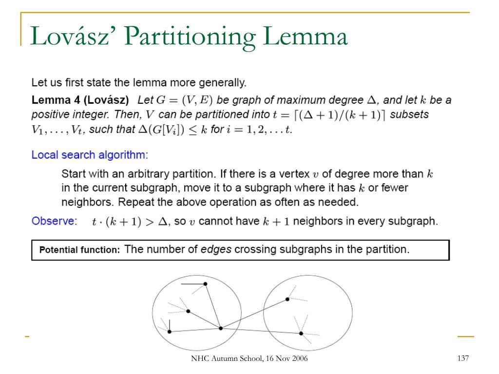 Lovász' Partitioning Lemma