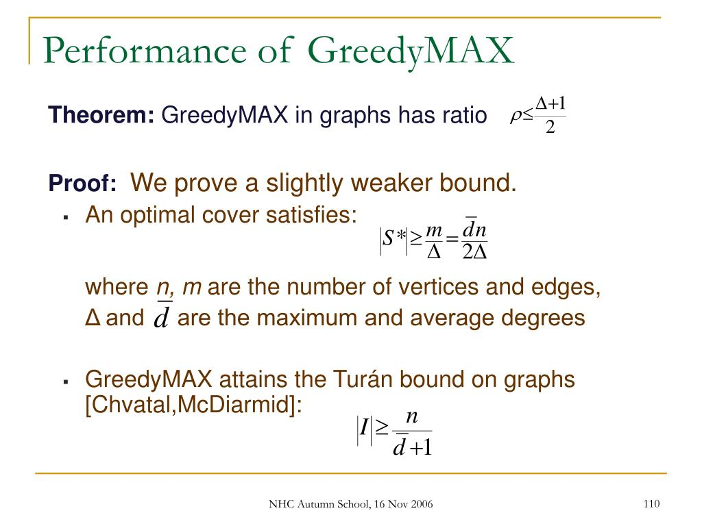 Performance of GreedyMAX
