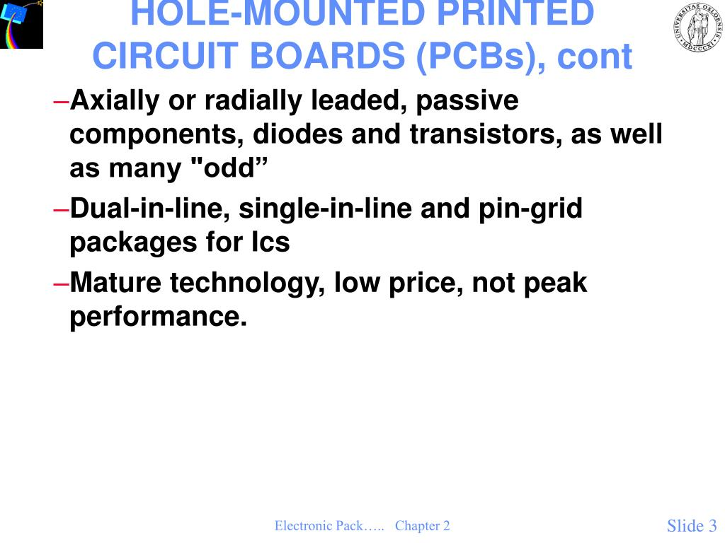 HOLE-MOUNTED PRINTED CIRCUIT BOARDS (PCBs), cont