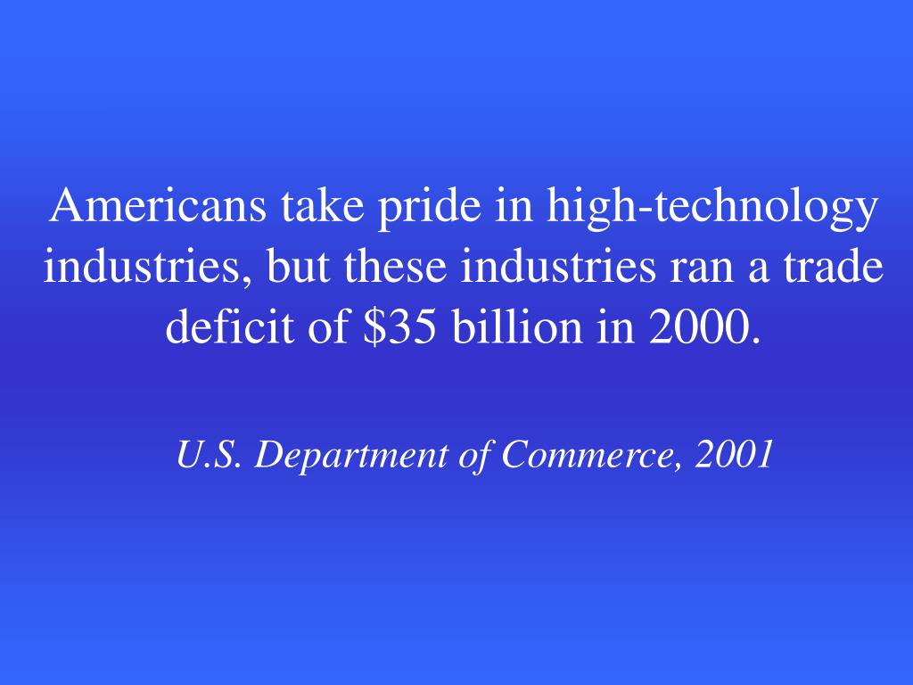 Americans take pride in high-technology industries, but these industries ran a trade deficit of $35 billion in 2000.