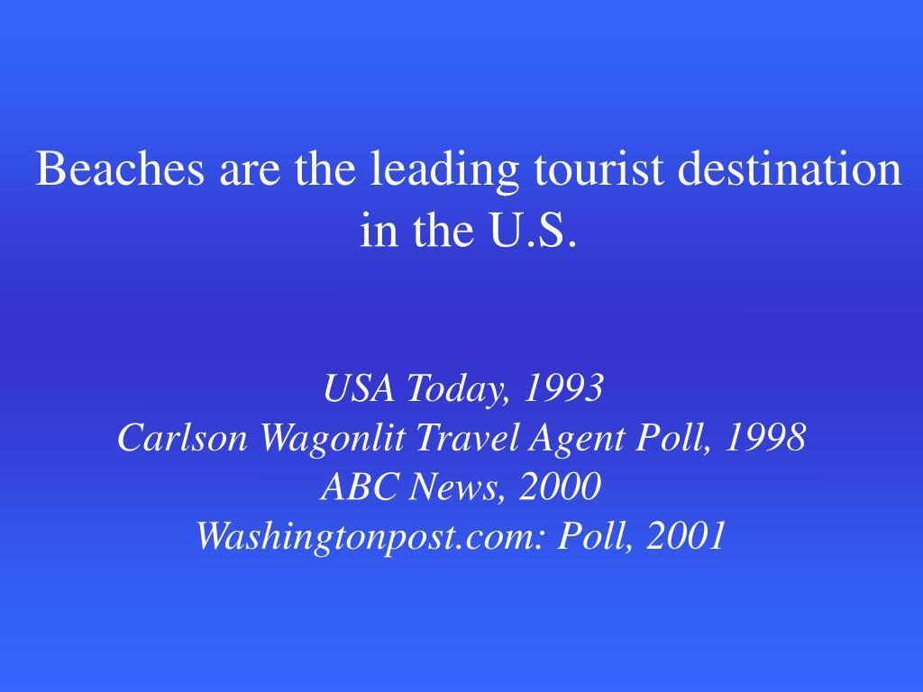 Beaches are the leading tourist destination in the U.S.