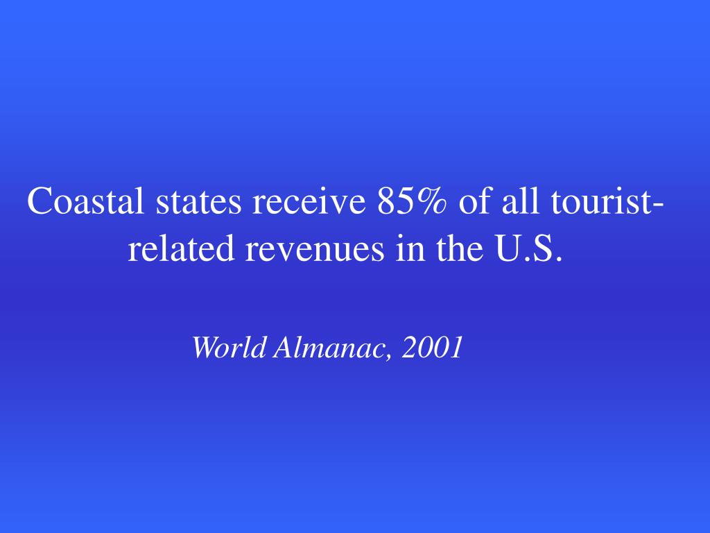 Coastal states receive 85% of all tourist-related revenues in the U.S.