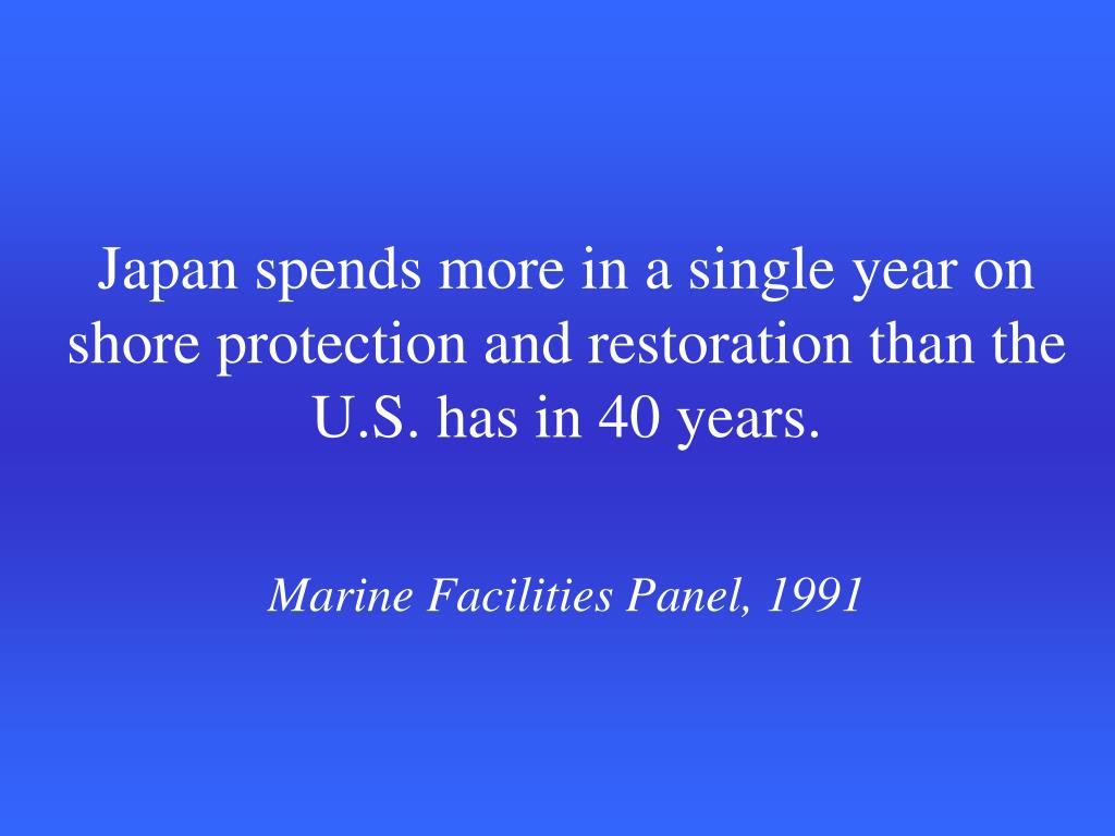 Japan spends more in a single year on shore protection and restoration than the U.S. has in 40 years.