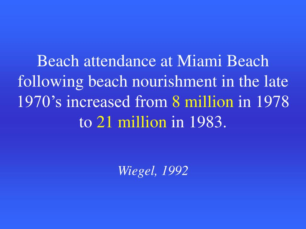 Beach attendance at Miami Beach following beach nourishment in the late 1970's increased from