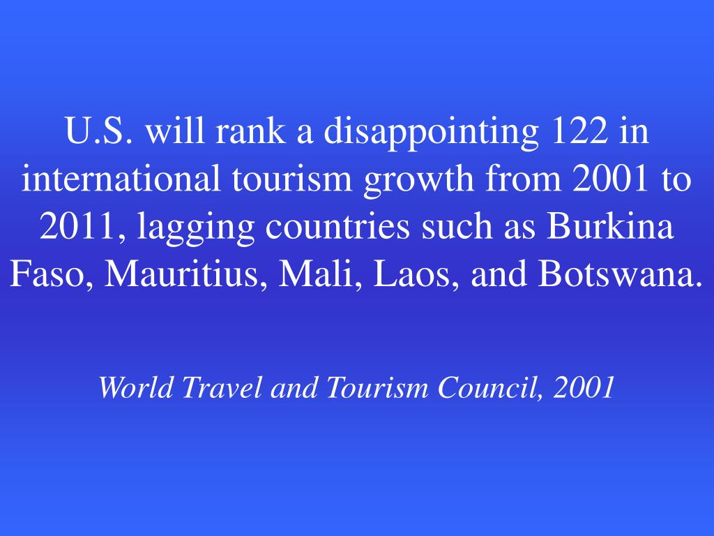 U.S. will rank a disappointing 122 in international tourism growth from 2001 to 2011, lagging countries such as Burkina Faso, Mauritius, Mali, Laos, and Botswana.
