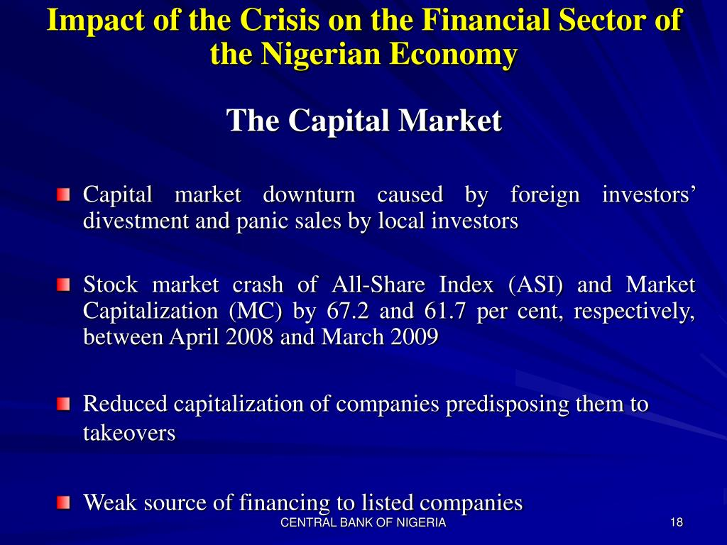 Impact of the Crisis on the Financial Sector of the Nigerian Economy